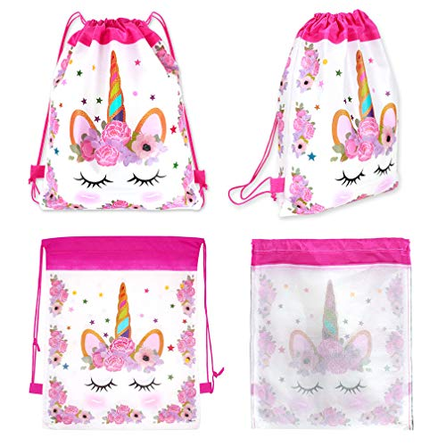 YTBUBOR 24 Pack Unicorn Drawstring Party Bag Unicorn Themed Backpacks Birthday Party Supplies Favor Bag Candy Chocolate Gift Bags(White)