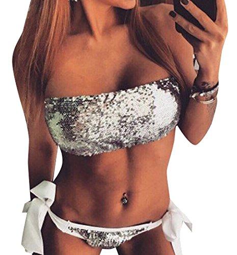 Losait Women's Push up Studded Top & Triangle Bottom Bikini Set M
