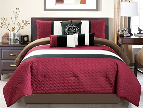 Modern 7 Piece Oversize Burgundy / Brown / Black Embroidered Pin Tuck Comforter Set King Size Bedding with Accent Pillows 104
