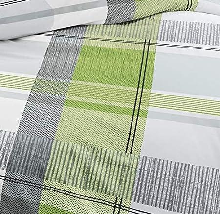 Bierbaum Single Jersey Bettwäsche 3 tlg 200x200cm Kiwi Grün Silber Anthrazit