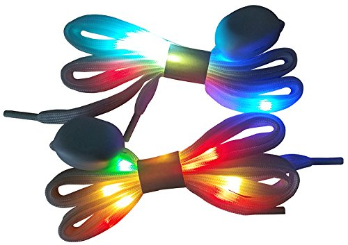 LIHAI LED Light Up Shoelaces with Multicolor Flashing Led Shoe laces for Night Party Hip-hop Dancing Cycling Hiking Skatin