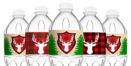 Woodland Reindeer Bottle Wraps - 20 Lumberjack Water Bottle Labels - Reindeer Lumberjack Camping Decorations - Made in the USA