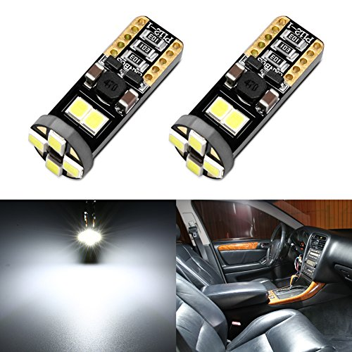 ENDPAGE 194 168 2825 912 T10 W5W LED Bulb Xenon White 6500K Super Bright 8-SMD Canbus Error Free, 2-Pack, Work as Interior Dome Map Lights, Door Courtesy Lights, Trunk Lights, License Plate Lights