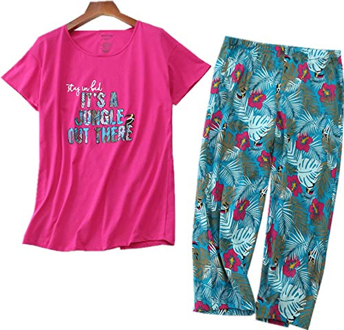 Women's Cotton Pajama Set Capri Pants with Short Tops Sleepwear 2 Piece Knit Nightgown -