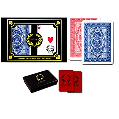 DA VINCI Ruote, Italian 100% Plastic Playing Cards, 2-Deck Poker Size Set, Regular Index, w/2 Cut Cards: Sports & Outdoors [5Bkhe0401901]