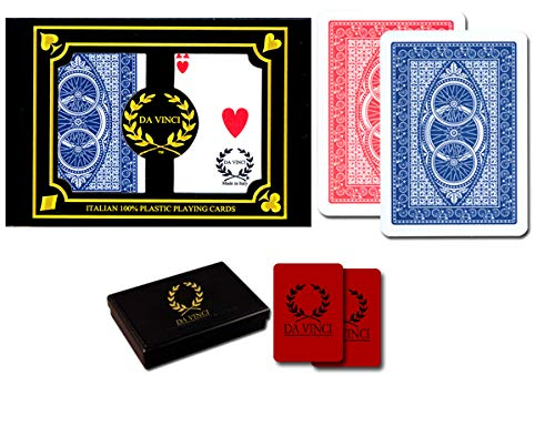DA VINCI Ruote, Italian 100% Plastic Playing Cards, 2-Deck Poker Size Set, Regular Index, with 2 Cut ()