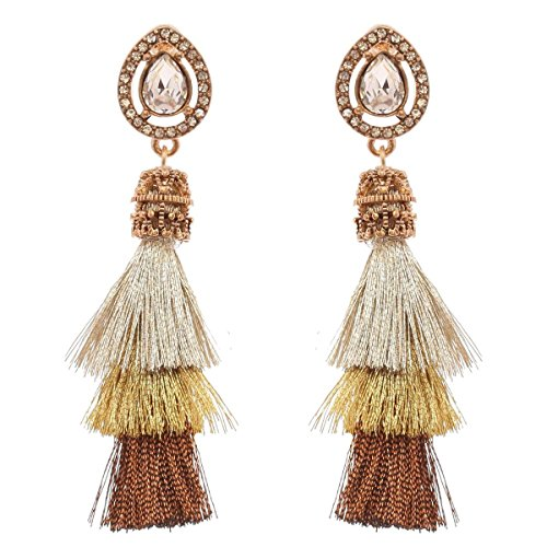 Women's Victorian Style Teardrop Stone 3 Layered Tassel Dangle Pierced Earrings, Brown/Gold-Tone Victorian Style Tassel