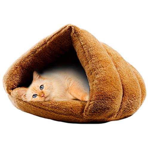 MeiLiMiYu Cat Bed Pet Self Warming Bed Winter Warm Plush Cat Cave Bed Portable Indoor Cat House for Small Cat Kitten (Brown)