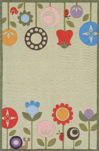 Momeni Acrylic Rug - Momeni Rugs LMOJULMJ-7GRS4060 Lil' Mo Whimsy Collection, Kids Themed Hand Carved & Tufted Area Rug, 4' x 6', Grass Green