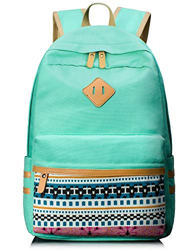 Leaper Casual Canvas Laptop Bag Cute School Backpack Travel Bag Water Blue