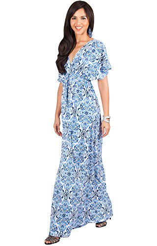 KOH KOH Womens Long Kimono V-Neck Short Sleeve Printed Summer Flowy Maxi Dress