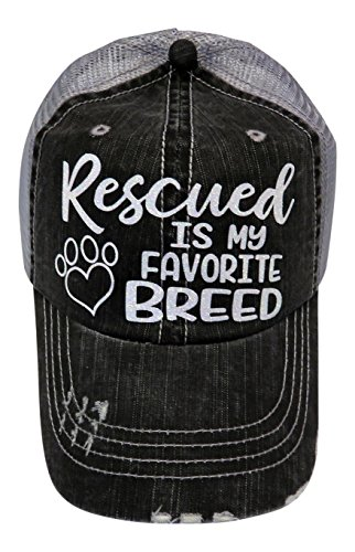 White Glitter Rescued Is My Favorite Breed Grey Trucker Cap Pet Animal Dog ()