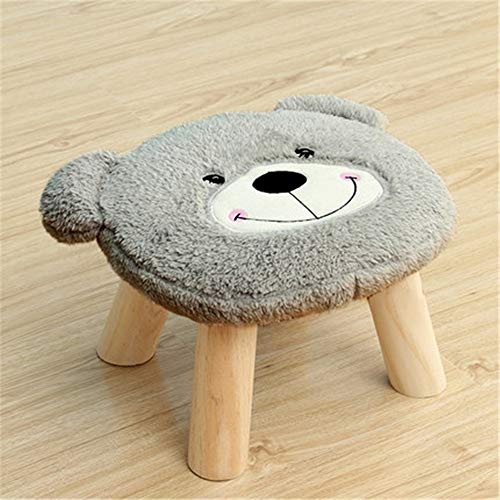 Rustic Cute Household Decoration Wooden Stools With Plush Fabrics Cover Wood Low Stools Ottoman Upholstered Footstool Round Chair Stool Cute Bear Cartoon Shape For Children Kids Fun Game Stools Wall - Bear Plush Footstool