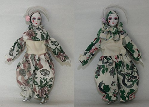 Duo Porcelain Dolls 7 Inches, Pierrot, with Heart on Cheek, Dress with Rose Decorations, Silver High Heels. Perfect for Christmas or Birthday Gift
