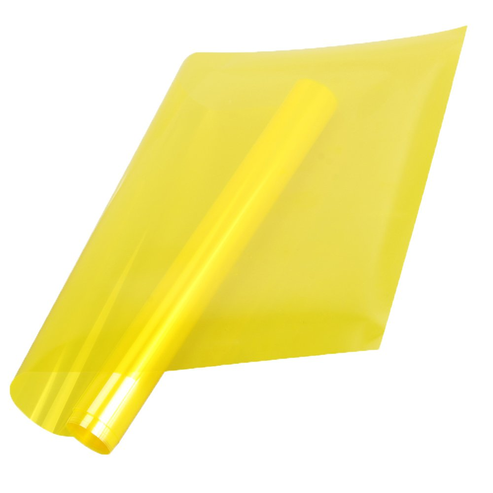 HOHO 2Mil Bright Yellow Tint Window Film 70% VLT Decorative Colored Window Film for Home Office Hotel 152cmx50cm
