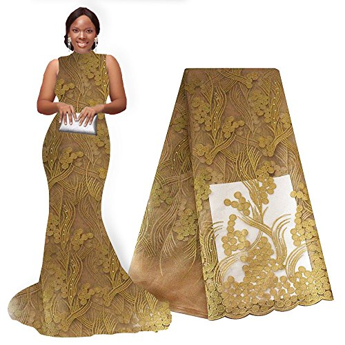 pqdaysun African Lace Fabric 5 Yards 2019 Nigerian Swiss Lace French Lace Fabric Embroidered Fabric for Wedding Party F50670 (Gold) ()
