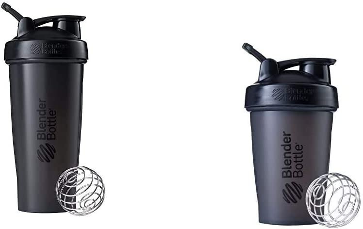 BlenderBottle Shaker Bottle, 28-Ounce, Black & Classic Loop Top Shaker Bottle, 20oz, Black