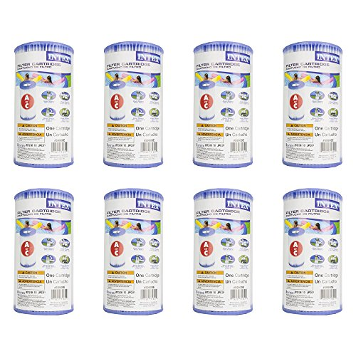 Intex Pool Easy Set Type A Replacement Filter Pump Cartridge (8 Pack) | 29000E ()