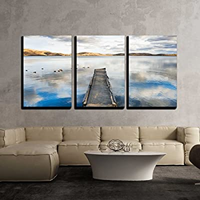 Wonderful Expert Craftsmanship, Classic Artwork, Old pier on The Lake a Floating Flock of Ducks and The Sky Reflecting in The Water x3 Panels