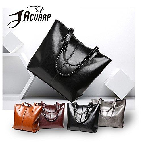 Female Work Shoulder Leather Womens Shoulder Bag Black Bag Capacity Genuine Waterproof Handbag Shoulder b Bag Bag Black Crossbody Jvps54 Popular Diagonal Bag Large Traveler pwzqxB4nWT