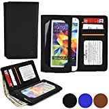 Cooper Cases(TM) Infinite Wallet Samsung Galaxy S5 Active / Plus / Sport Case in Black (PU Canvas Cover, Built-in Screen Protector, Card Slots, ID Holder, Billfold)