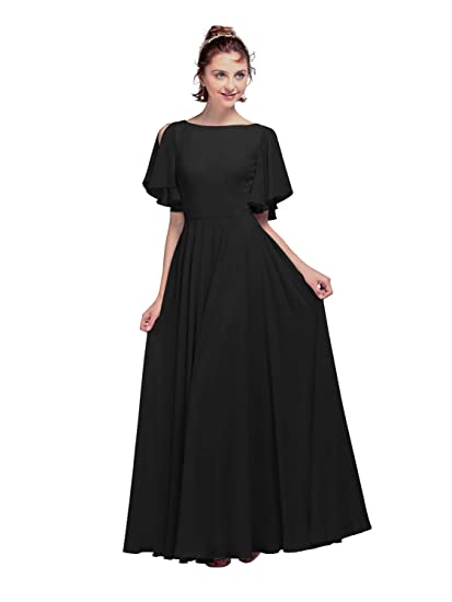 6c23d38e49ce7 AW V Back Chiffon Bridesmaid Dresses with Sleeves Long Plus Size ...