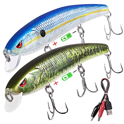 TRUSCEND Bass and Trout Fishing Lures,Twitching Lures Rechargeable LED