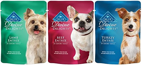 Blue Buffalo BLUE Divine Delights Wet Dog Entrees (Beef, Turkey, Lamb) 3oz (Pack of 12)