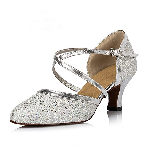 Pro Dancer Women Ballroom Dancing Shoes Dance Pumps, Silver Glitter, 6.5 B(M) US
