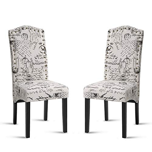 Merax Anastasia Collection Script Fabric Accent Chair Dining Room Chair Set with Solid Wood Legs, Beige,Set of 2