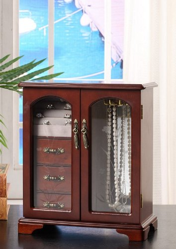 Nathan Direct Cabby Dual Case Jewelry Box with 3 Drawers, Ring Holders, and Necklace Hooks, Mahogany by Nathan Direct (Image #2)