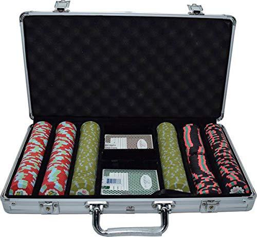 300 Authentic Dunes Un-circulated Casino Poker Chips Set w/ Case & 2 Bellagio Decks