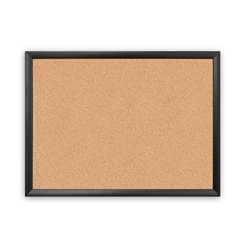 U Brands Cork Bulletin Board, 23 x 17 Inches, Black Wood Frame -