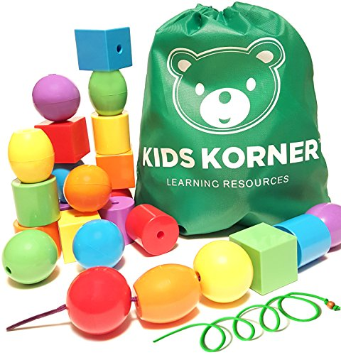 Kids Korner 24 Lacing Beads Set for Toddlers,