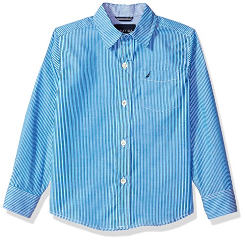 Vertical Stripe Shirt Woven (Nautica Little Boys' Long Sleeve Striped Woven Shirt, Dark Turquoise, Large (7))