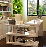 Modern Executive White High Gloss Computer PC Desk Home Office Corner Table Study Workstation Book Shelf Storage Unit Large Wooden Compact Stainless Steel Laptop Luxury Writing Shelves Furniture Also Available in Black*****FREE FAST DELIVERY*****