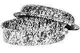 Crow Canyon Enamelware Large Oval Roaster - Black Marble