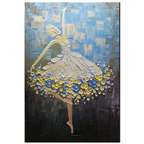 Okbonn-100% Hand Painted Ballet Girl Dancer Painting 3D Oil Paintings on Canvas Blue Modern Abstract Artwork Vertical Wall Art Decoration for Living Room Bedroom Dining Room Hallway