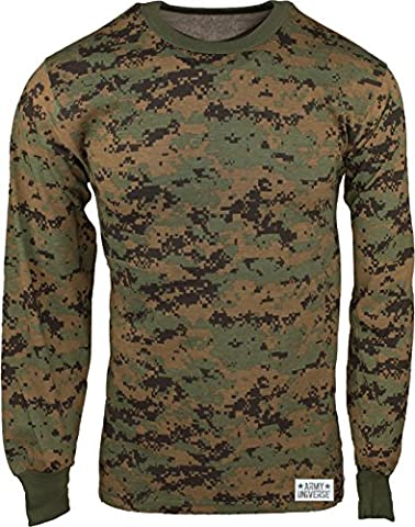 Woodland Digital Camouflage Long Sleeve Military T-Shirt with ARMY UNIVERSE Pin - Size Large - Woodland Camouflage Tee T-shirt Top