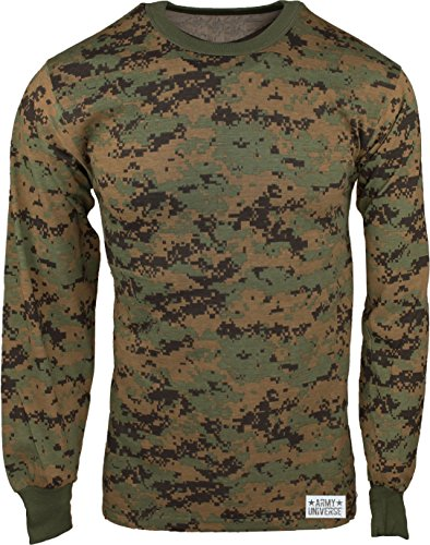 T-shirt Camo Woodland Cotton Army (Army Universe Woodland Digital Camouflage Long Sleeve Military T-Shirt with Pin - Size 4X-Large (57