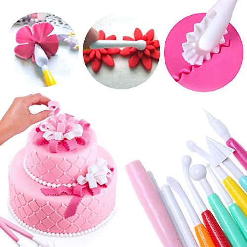 eKoi Pastry Cake Cookie Cupcake Clay Decorating Sculpting Modeling Pattern Scriber Pin Needle Cutter Pen Tools Kit Supplies for Baking Frosting Fondant SugarCraft Icing Paste DIY Art (15PC Set)