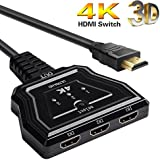 HDMI Switch, 3 Port 4K HDMI Switcher HDMI Splitter with Pigtail Cable Supports 4K/Full/1080P/3D HD Audio for Nintendo Switch PS4/PS3/Xbox/STB/Apple TV/DVD Player[2018 Version] (Black)