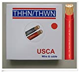 USCA Stranded THHN/THWN 6 AWG Building Wire, 100 FT, Red,600 Volt, 90C