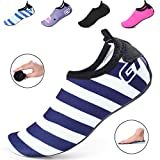 Kids Water Shoes/Quick-Drying, Comfortable Children Aqua Shoes with Rubber Soles/for Pool, Beach, Yoga and Water Hikes (7M US Toddler / 24-25 EUR, Dark Blue Stripes)