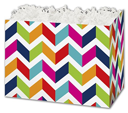 (Patterned Specialty & Event Boxes - Chevron Chic Gift Basket Boxes, 6 3/4 x 4 x 5