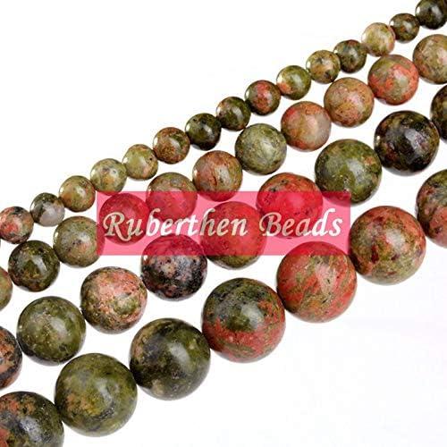 Natural Unakite Jaspers Beads DIY Jewelry Accessory Trendy Loose Stone Round Beads Manlouz Handmade Beads Item Diameter: 8 mm