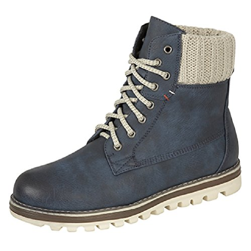 Ladies Winter Knitted Top StreetStyle Lace Up Boots Blue gBA0PbNn