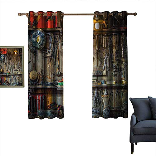 """longbuyer Man Cave Decor Decor Curtains Vintage Tools Hanging On A Wall in A Tool Shed Workshop Fixing Equipment Home Garden Bedroom Outdoor Indoor Wall Decorations 63"""" Wx45 L Multicolor from longbuyer"""