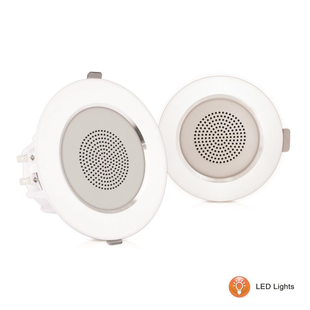 Pyle Ceiling Speakers, In-Wall / In-Ceiling Dual 3.5-Inch Speaker System, High-Compliance Tweeter, 2-Way, Flush Mount, Aluminum Frame Speaker Pair with Built-in LED Lights, White (PDICLE35)