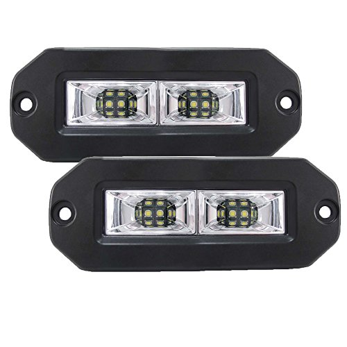 Flush Mount Led pod light, Samlight 2Pcs 40W Flood CREE Led Work Light Bar, Off Road Backup Driving Lights Fog Lamp for Truck Trailer Jeep Bumper ATV UTV SUV Truck Boat